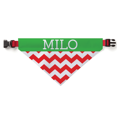 Custom Personalization Solutions Christmas Chevron Personalized Pet Bandana Collar Cover