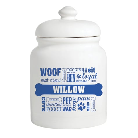 Custom Personalization Solutions Personalized Dog Words Treat Jar Blue