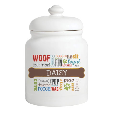 Custom Personalization Solutions Multi-Colored Personalized Dog Words Treat Jar