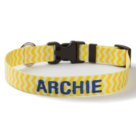 Custom Personalization Solutions Personalized Chevron Dog Collar Yellow