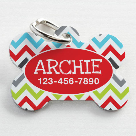 Custom Personalization Solutions Personalized Pet Tag Chevron Red