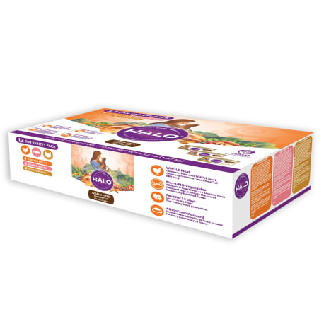 Halo Adult Wet Food with Chicken, Salmon & Turkey Variety Pack