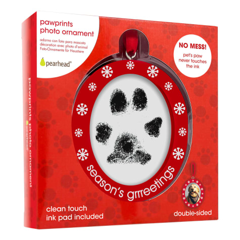 Pearhead Double-Sided Photo and Pawprints Ornament For Dogs or Cats