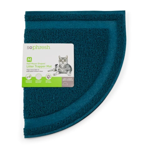 So Phresh Ocean Blue Half-Moon Cat Litter Trapper Mat