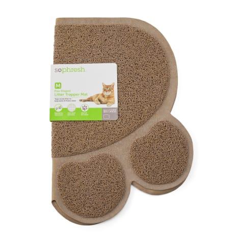 So Phresh Tan Paw-Shaped Cat Litter Trapper Mat