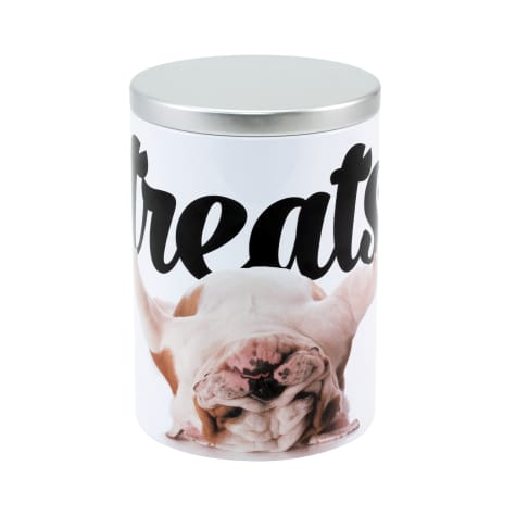 Paw Prints Tin Treat Container Bulldog