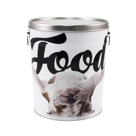 Paw Prints Tin Food Bin Bulldog