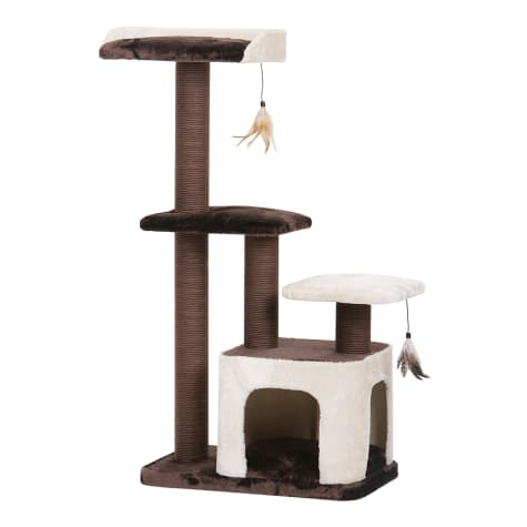 PetPals Group Creme Brown And Cream Three Level Cat Tree With Two Teasers