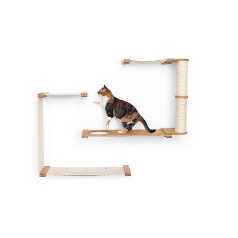 CatastrophiCreations The Cat Mod Dakota Hammocks With Scratching Pole for Cats in English Chestnut