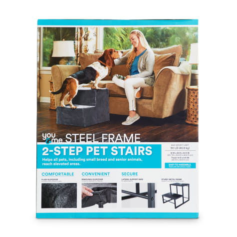 You & Me Steel Frame 2-Step Pet Stairs with Plush Slipcover