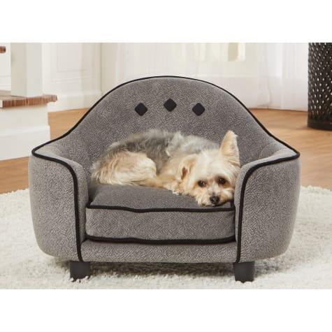 Enchanted Home Pet Ultra Plush Headboard Diamond Grey Sofa for Dog