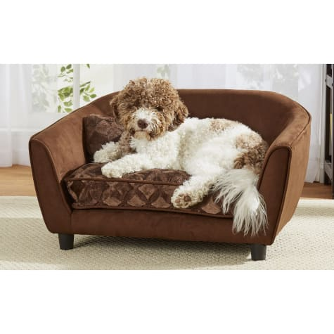 Enchanted Home Pet Astro Brown Sofa With Embossed Print for Dog