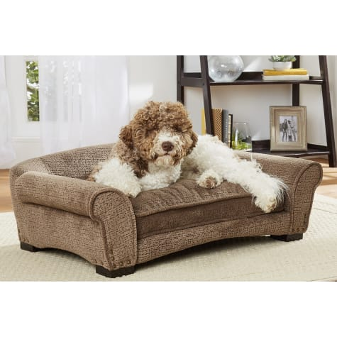 Enchanted Home Pet Harper Arch Brown Sofa with Puzzle Print for Dog