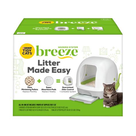 Purina Tidy Cats Breeze Hooded System Starter Kit Cat Litter Box, Litter Pellets & Pads