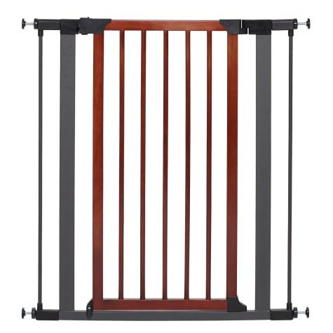 Midwest WalkThru Steel Pet Gate with Textured Graphite Frame & Decorative Wood Door