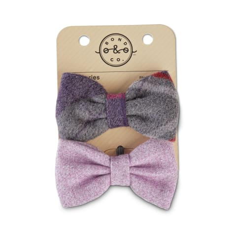 Bond & Co. Tartan Felt and Lavender Tweed Bowtie Dog Set