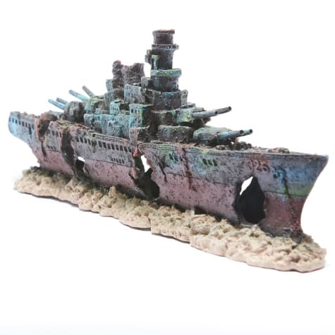 R&J Enterprises Sunken Warship Aquarium Decoration