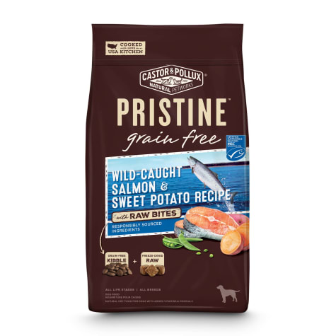 Castor & Pollux Pristine Grain Free Wild-Caught Salmon & Sweet Potato Recipe with Raw Bites Dry Dog Food