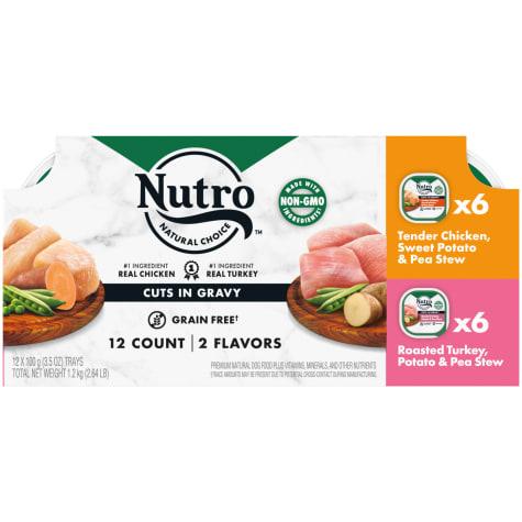 Nutro Grain Free Variety Pack Tender Chicken, Sweet Potato, Pea Stew & Roasted Turkey Wet Dog Food