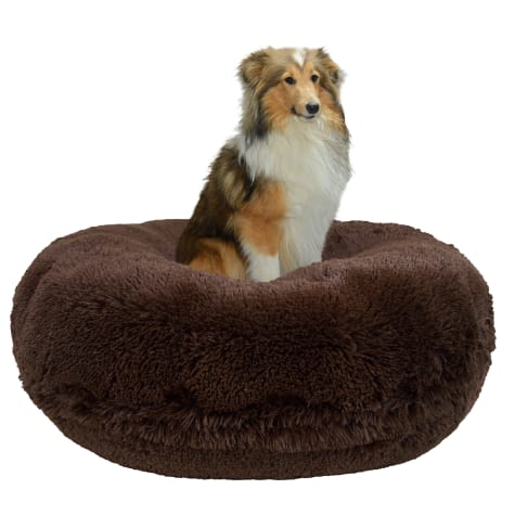 Bessie & Barnie Extra Plush Faux Fur Bagel Pet Grizzly Bear Dog Bed
