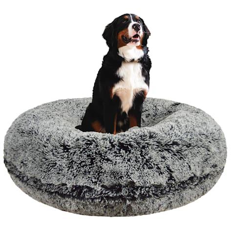 Bessie & Barnie Extra Plush Faux Fur Bagel Pet Midnight Frost Dog Bed