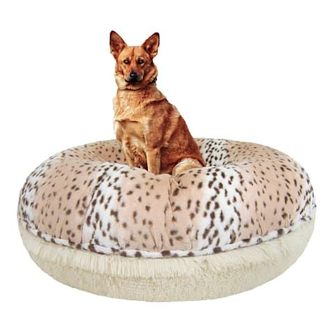 Bessie & Barnie Extra Plush Faux Fur Bagel Pet Blondie Aspen Snow Leopard Dog Bed