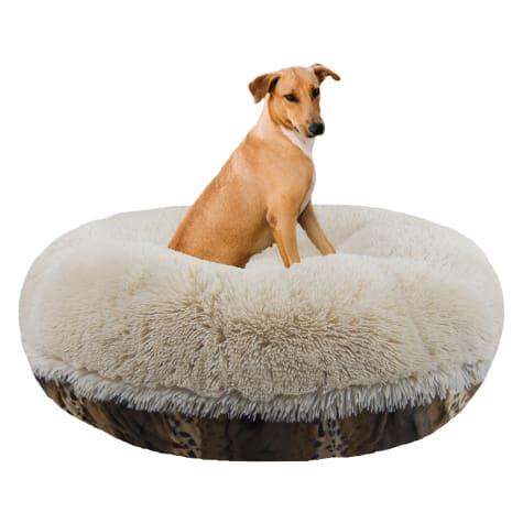 Bessie & Barnie Extra Plush Faux Fur Bagel Pet Blondie Wild Kingdom Dog Bed