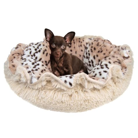 Bessie & Barnie Ultra Plush Deluxe Aspen Snow Leopard Blondie Pet Cuddle Pod Cat Bed