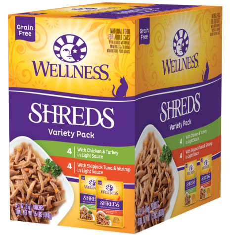 Wellness Complete Health Indulgence Grain Free Shreds Variety Pack Wet Cat Food