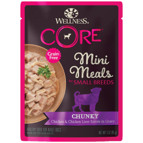 Wellness CORE Natural Grain Free Small Breed Mini Meals Chunky Chicken & Chicken Liver Entree Wet Dog Food