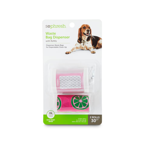 So Phresh Pink and Clear Dog Waste Bag Dispenser with Refills