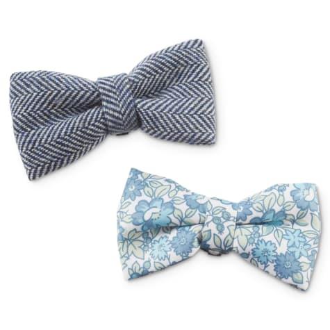 Bond & Co. Floral Twill and Herringbone Tweed Dog Bow Tie Set