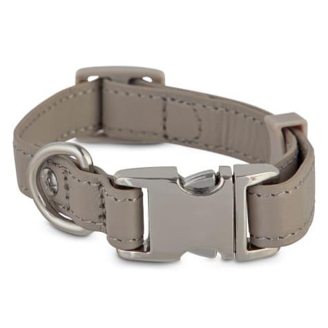 Bond & Co. Gray Leather Snap Buckle Dog Collar
