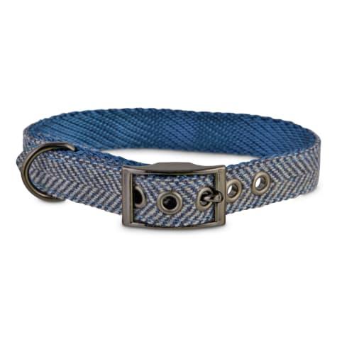 Bond & Co. Blue Herringbone Dog Collar