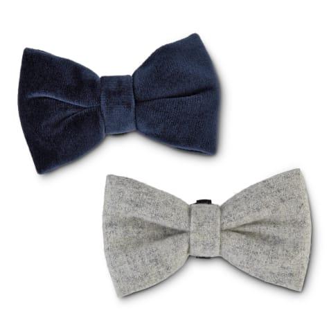 Bond & Co. Stone-Gray and Blue Velvet Dog Bow Tie Set
