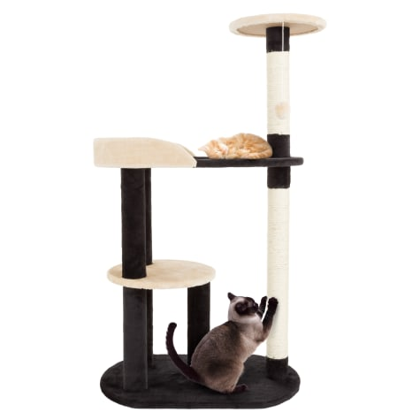 PETMAKER 3 Level Cat Tree with 2 Scratching Posts and Hanging Toy in Black and Tan