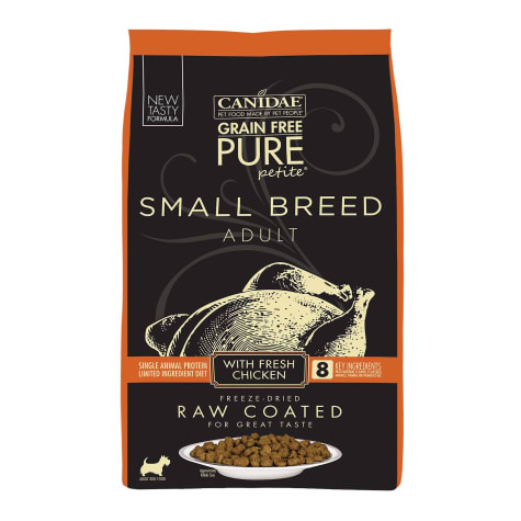 CANIDAE Grain Free PURE Petite Small Breed Dry Dog Food Raw Coated Formula with Chicken
