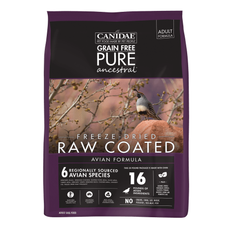 CANIDAE Grain Free PURE Ancestral Diet Dog Dry Raw Coated Avian Formula with Quail, Chicken, & Turkey
