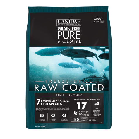 CANIDAE Grain Free PURE Ancestral Diet Dog Dry Raw Coated Fish Formula with Salmon, Mackerel, & Pacific Whiting