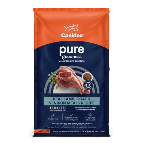 CANIDAE PURE Grain Free Limited Ingredient Real Lamb, Goat & Venison Dry Dog Food