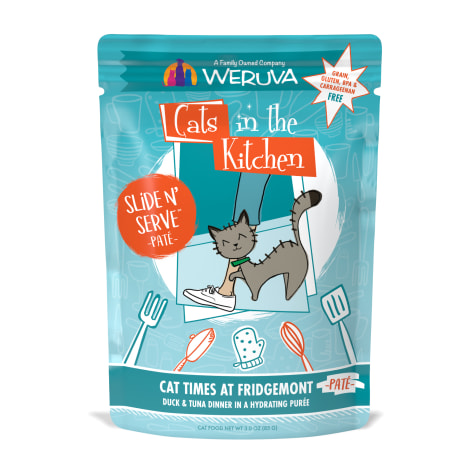 Cats in the Kitchen Pate Cat Times at Fridgemont Duck & Tuna Dinner in a Hydrating Puree Wet Cat Food
