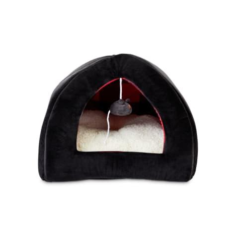 Harmony Black and Buffalo Check Hooded Igloo Cat Bed
