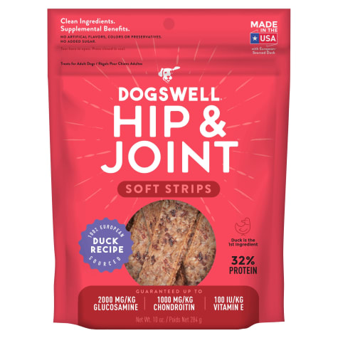 Dogswell Hip & Joint Soft Strips Grain-Free Duck Recipe for Dogs