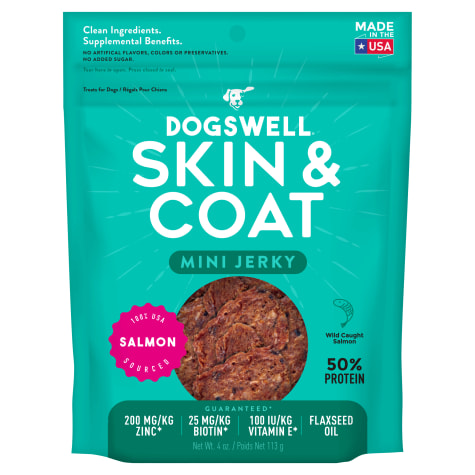 Dogswell Skin & Coat Jerky Minis Grain-Free Salmon for Dogs