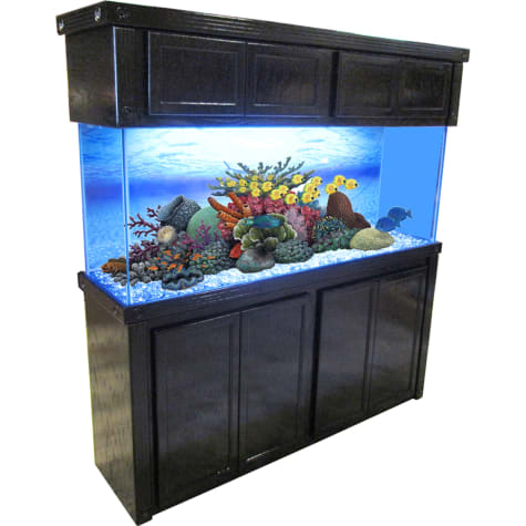 R&J Enterprises 72X18 Black Oak Empire Tall Reef Cabinet and Canopy Combo