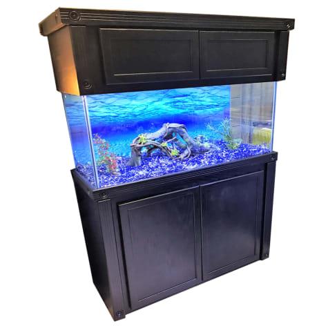 R&J Enterprises 48X18 Black Oak Empire Tall Reef Cabinet and Canopy Combo