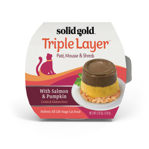 Solid Gold Triple Layer Wet Cat Food with Salmon & Pumpkin; Pate, Mousse and Shreds