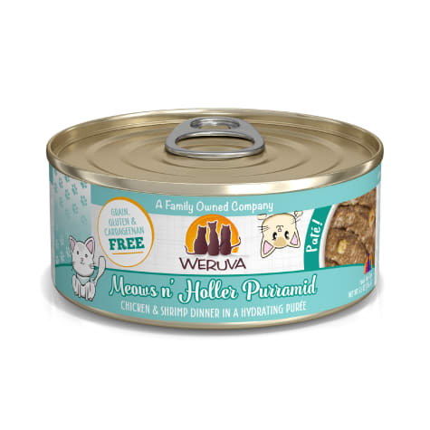 Weruva Pate Meows n' Holler Purramid Chicken & Shrimp Dinner in a Hydrating Puree Wet Cat Food