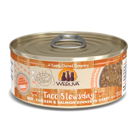 Weruva Stew! Taco Stewsday Beef, Chicken & Salmon Dinner in Gravy Wet Cat Food