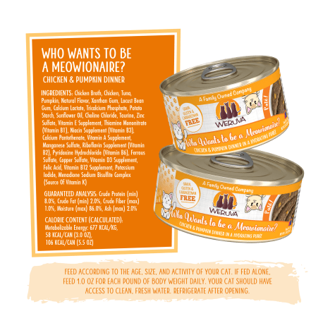 Weruva Pate Who Wants To Be A Meowionaire Chicken Pumpkin Dinner In A Hydrating Puree Wet Cat Food 3 Oz Petco